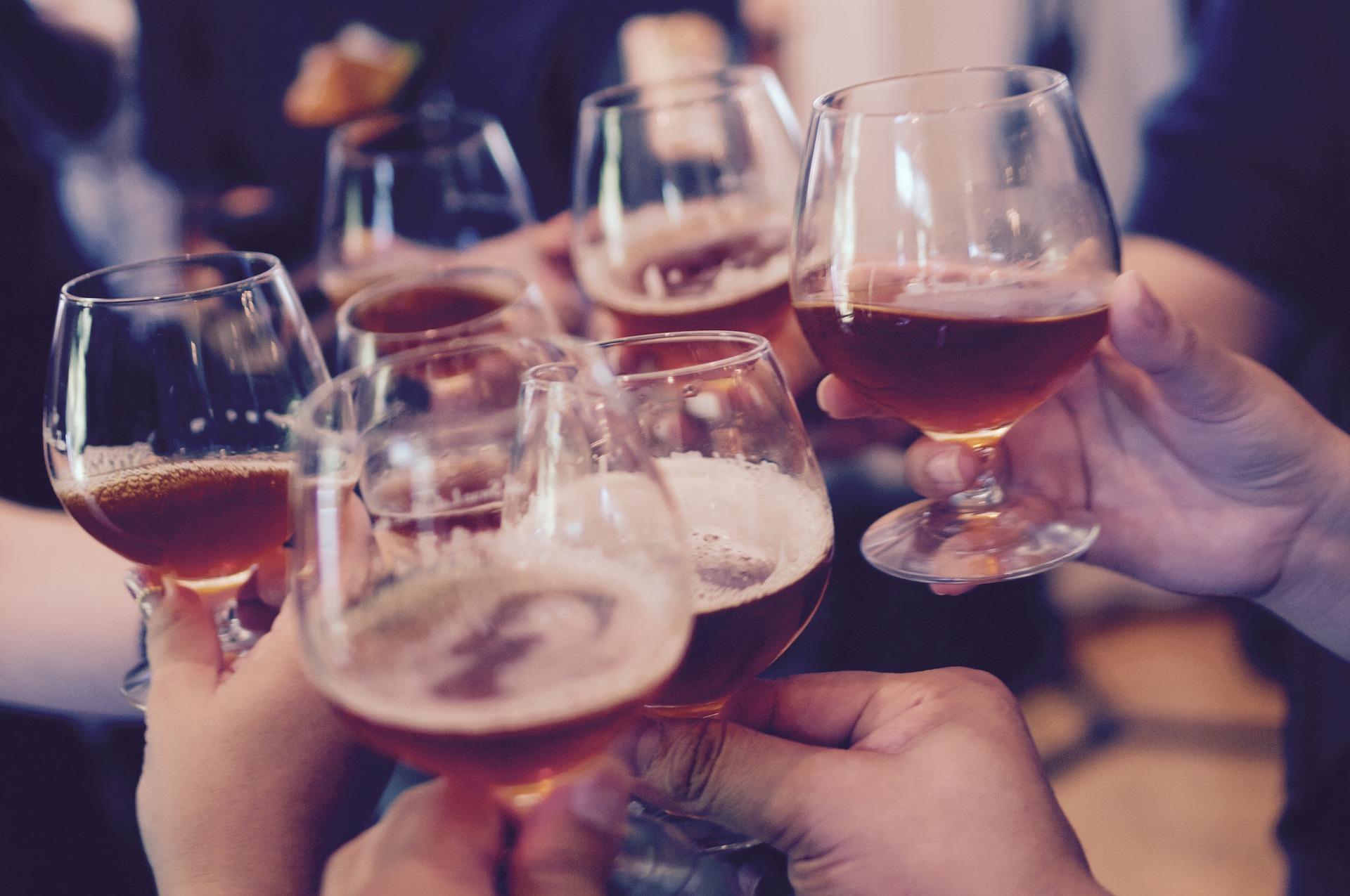 stop binge drinking glasses raised