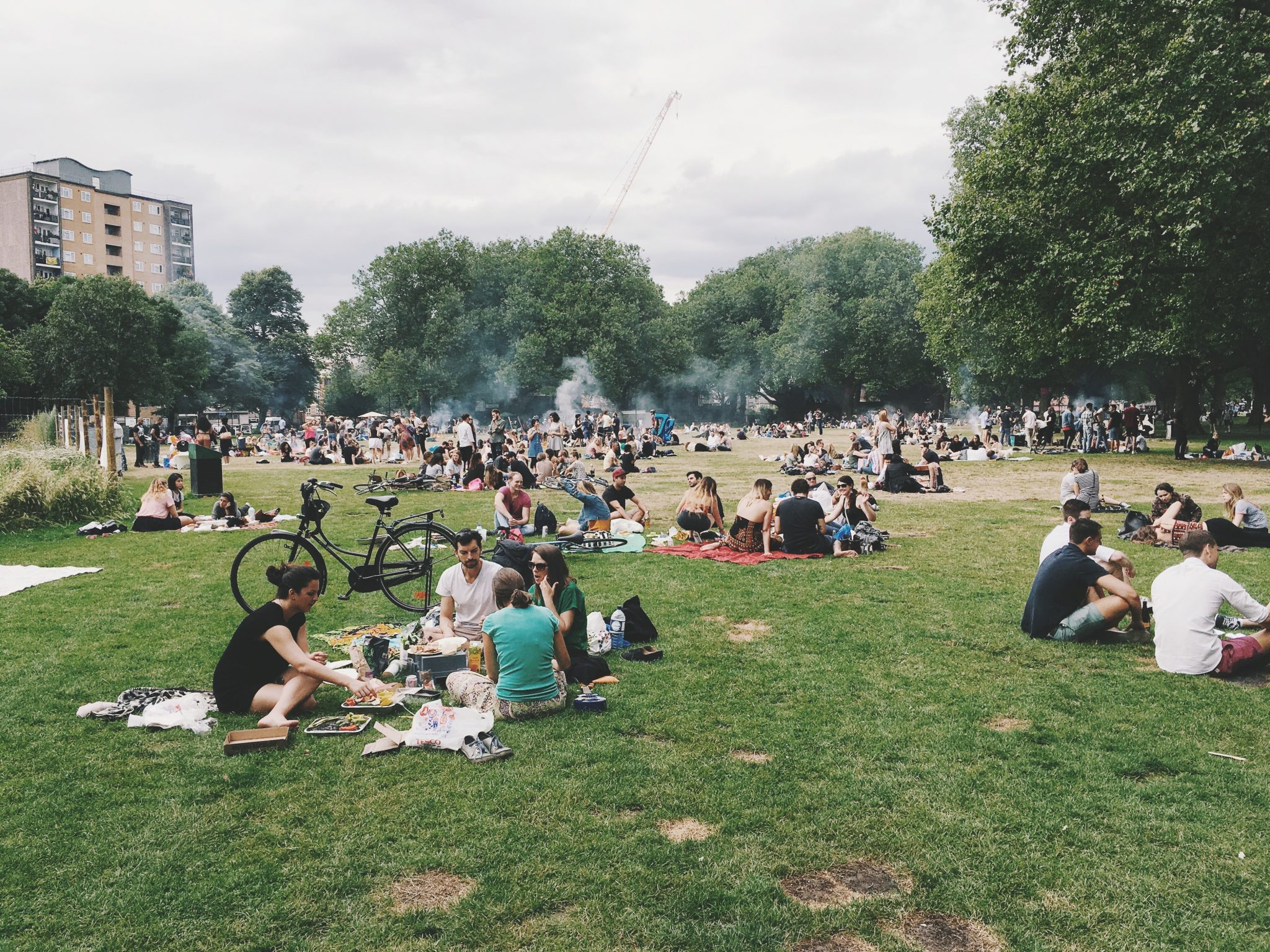 people gathered in the park, sober labor day