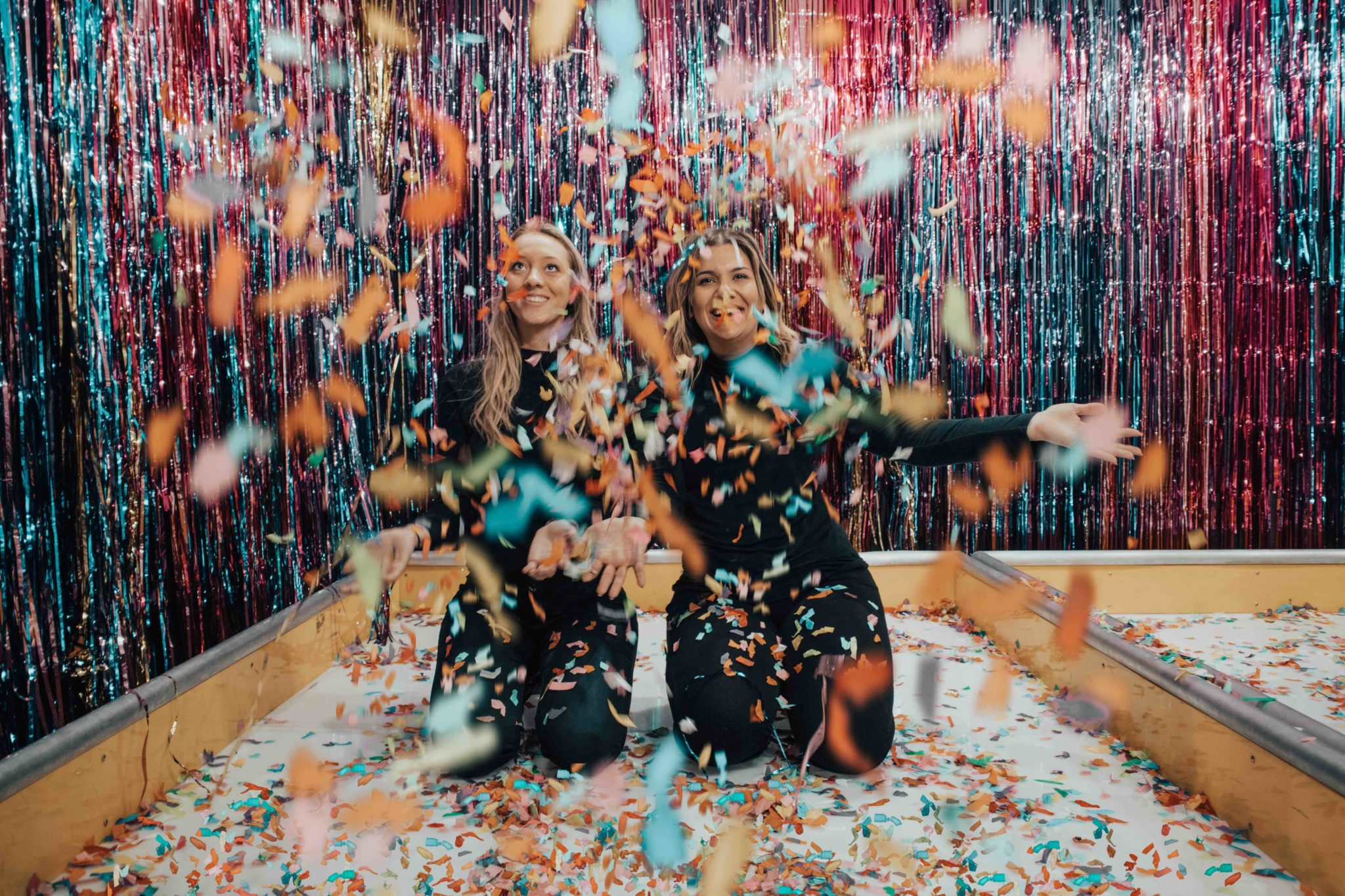 sober holiday party with confetti